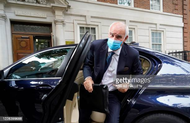 The European Union's recently appointed ambassador to the United Kingdom, Joao Vale de Almeida, arrives by car at Europe House in central London on...