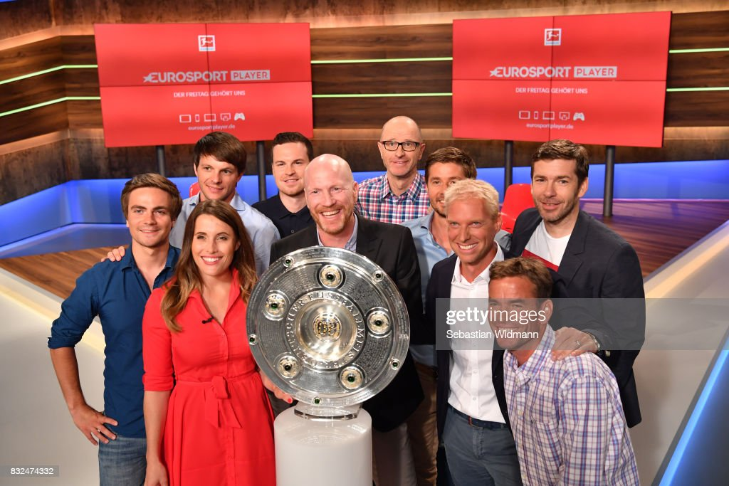 The Eurosport Bundesliga team poses for a picture after the Eurosport Bundesliga Media Day on August 16, 2017 in Unterfohring, Germany.