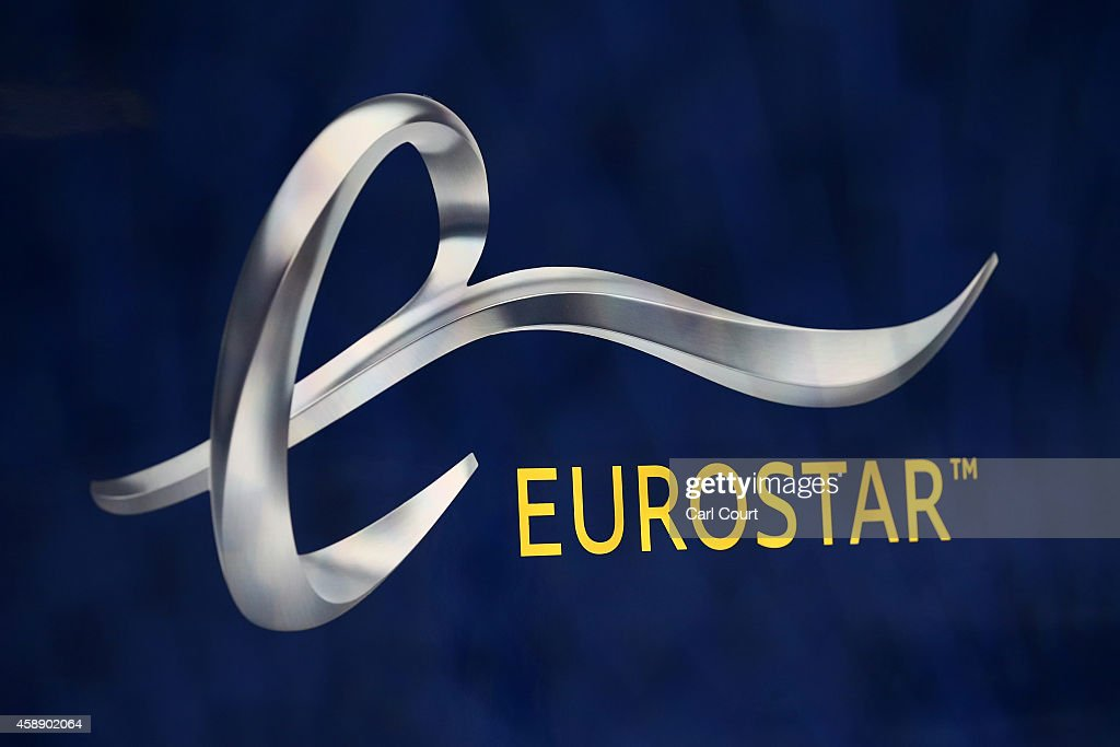 The Eurostar logo is pictured on the new e320 train at St Pancras Station on November 13, 2014 in London, England. Launched today, the trains can reach speeds of up to 200mph and will get to Paris 15 minutes quicker than current trains.