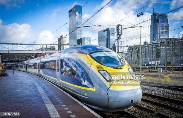 The Eurostar train arrives at Rotterdam Central Station on February 1 2018 Train manufacturer Siemens and Dutch train company NS are conducting tests...