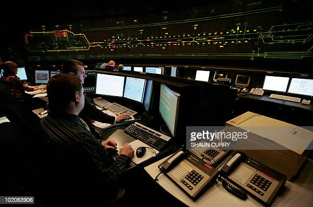 The Eurotunnel control room is pictured at the Eurotunnel terminal in Folkestone, Kent, on February 9, 2009. A fire-damaged section of the Channel...