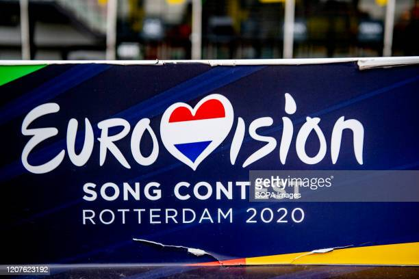 The Eurovision logo seen outside the Rotterdam Ahoy the official venue for the planned Eurovision Song Contest 2020 This year's Eurovision Song...