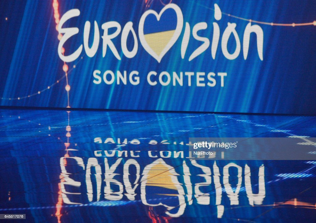 The Eurovision Song Contest 2017 logo is seen during the Ukrainian... News Photo - Getty Images