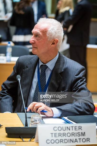 The EU's antiterrorism coordinator Gilles de Kerchove attends a Justice and Home Affairs Council to discuss cooperation with Libya to stem the...