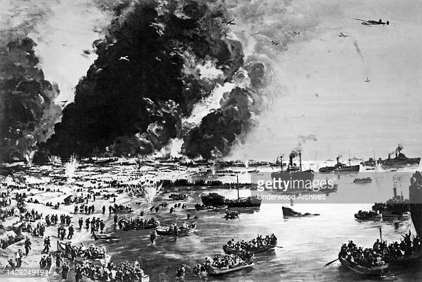 The Evacuation of Dunkirk as painted by Charles Cundall Dunkirk France June 1 1940 The British evacuated over 350000 British Belgian French and...
