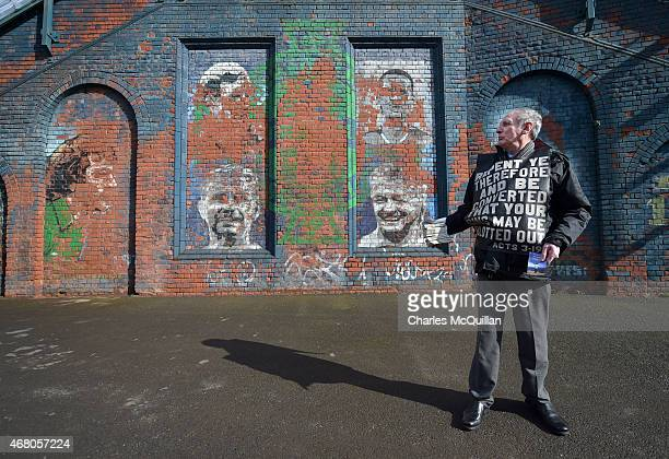 The Evangelical Protestant Society hold a protest against football on a Sunday before the EURO 2016 Group F qualifier between Northern Ireland and...