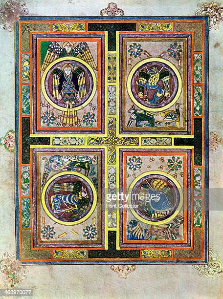 The Evangelical Symbols, 800 AD, . The winged man is St Matthew, the winged lion St Mark, the winged ox St Luke and the eagle represents St John. A...