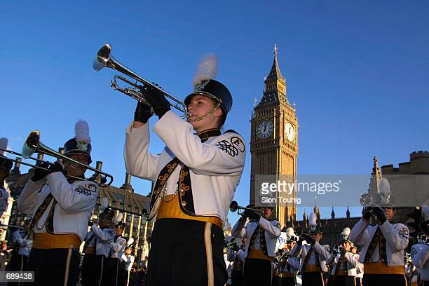 The Evans High School Marching Band from Augusta Georgia marches in front of Big Ben January 1 during the sixteenth New Years Day Parade in London...