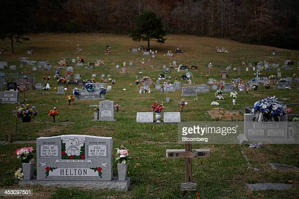 The Evarts Memorial Gardens Cemetery stands near Evarts Kentucky US on Wednesday Nov 6 2013 In 2011 coal was used to generate 303 percent of the...