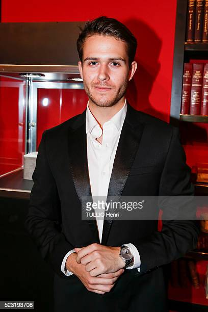 the evening for 110th Anniversary of MontBlanc at Rainbow Room Rockfeller Center Hugh Adam Gallagher is photographed for Paris Match on april 05 2016...