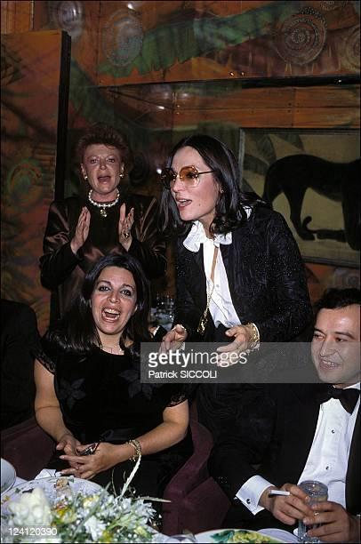 "The evening of S.Traboulsy at ""Regine"" In Paris, France On December 02, 1982 - Regine, Christina Onassis, Nana Mouskouri."