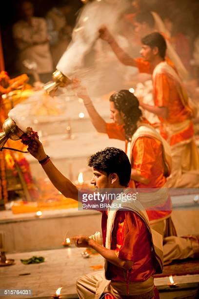 The evening puja an Hindu ritual on the dasaswamedh ghat on the bank of the Ganges river Varanasi Uttar Pradesh India