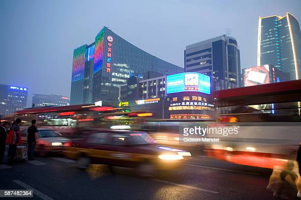 The evening rush hour in the busy Zhongguancun district which is known as the computer district of Beijing and has been called China's silicon valley...
