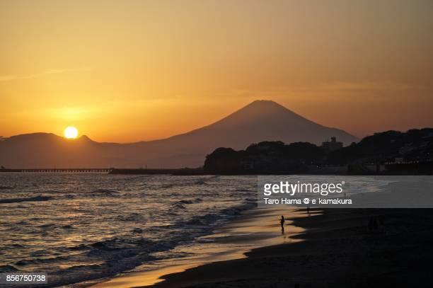 The evening sun on Mt. Fuji, Hakone and the beach in Kamakura city in Kanagawa prefecture in Japan
