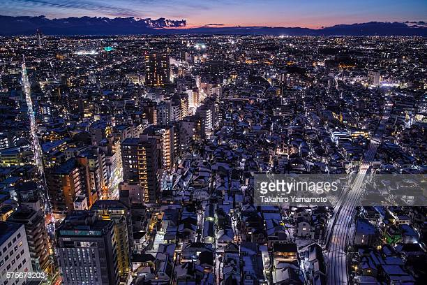 The evening view of Tokyo covered with snow