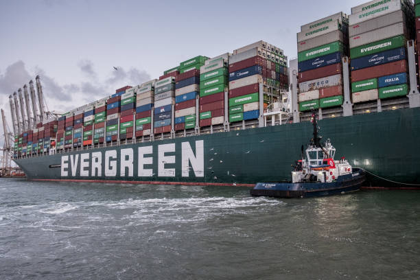 NLD: Released From The Suez Canal Container Ship Ever Given Arrives In Rotterdam
