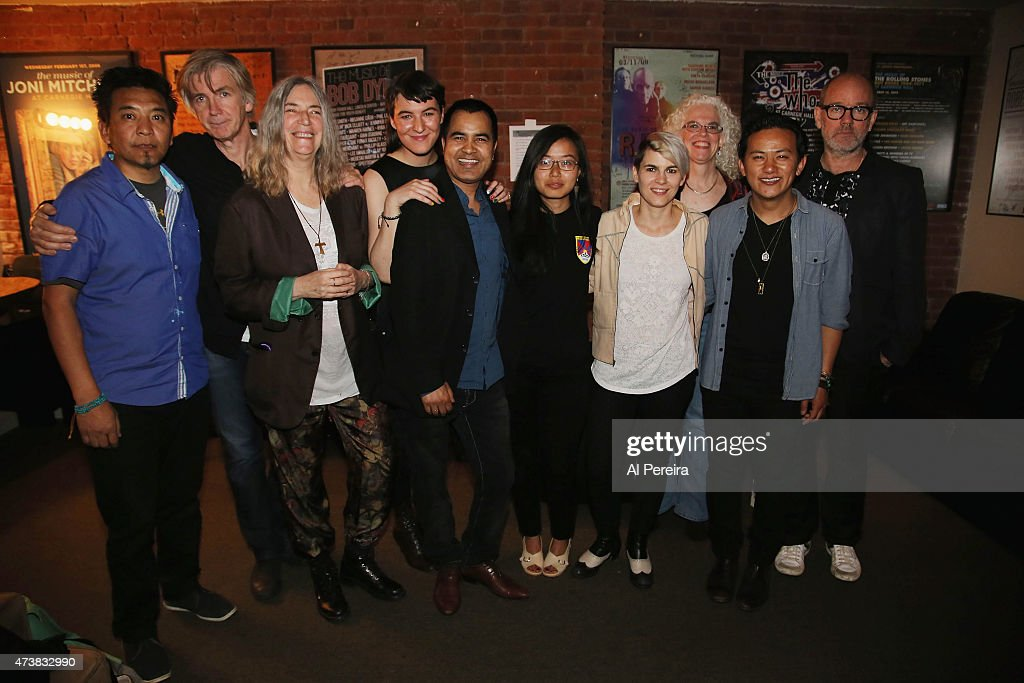 The Everest Awakening Ensemble pose backstage after they perform at the Everest Awakening: A Prayer for Nepal and Beyond Benefit show at City Winery on May 17, 2015 in New York City.