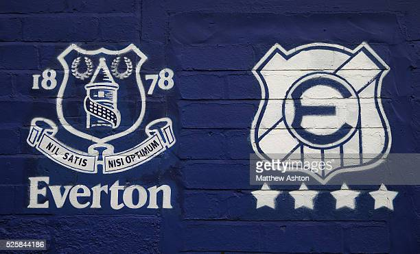 The Everton club crest alongside the crest of Everton of Chile outside Goodison Park