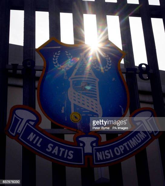 The Everton club crest at Goodison Park Everton and England legend Alan Ball died of a heart attack last night at his home in Hampshire