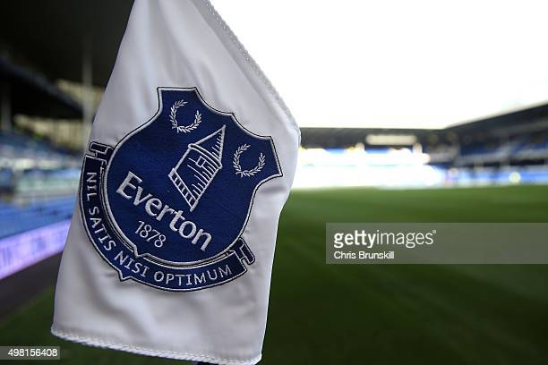 The Everton club crest is seen on a corner flag ahead of the Barclays Premier League match between Everton and Aston Villa at Goodison Park on...