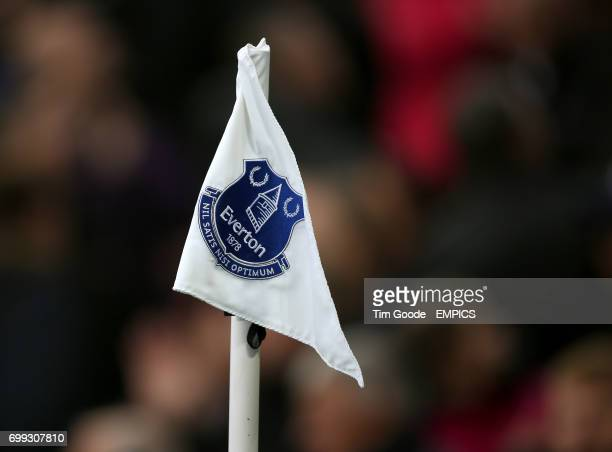 The Everton club crest on a corner flag at Goodison Park