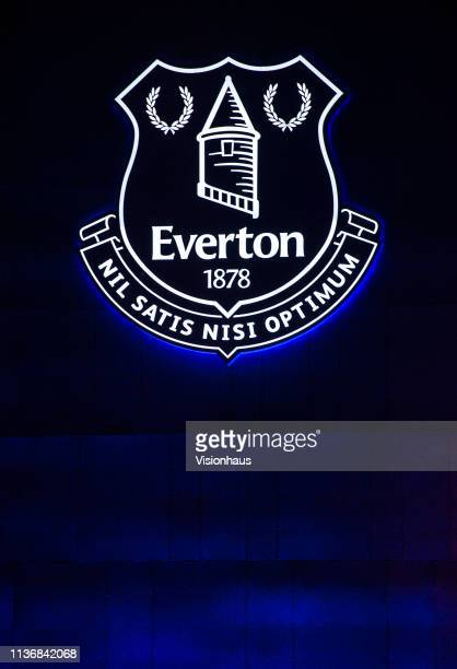 The Everton club crest on the outside of Goodison Park after the Premier League match between Everton FC and Chelsea FC at Goodison Park on March 17...