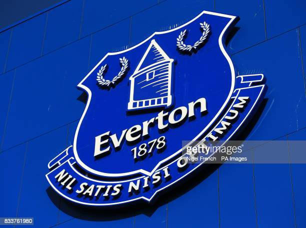 The Everton club crest outside Goodison Park before the UEFA Europa League PlayOff First Leg match before Everton and Hajduk Split