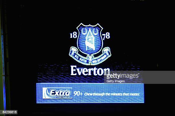 The Everton crest and Wigley's Extra branding shown on the electronic scoreboard during the Barclays Premier League match between Everton and Hull...