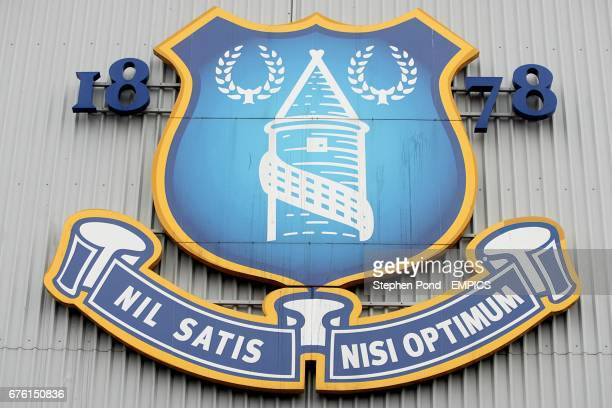 The Everton crest on the side of Goodison Park