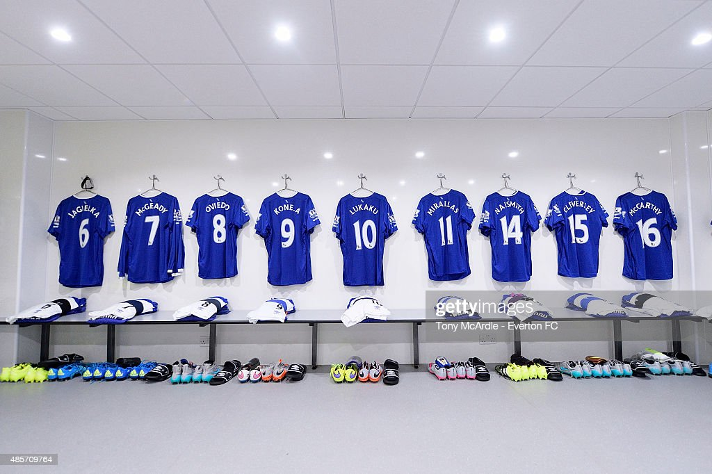 The Everton dressing room before the Barclays Premier League match between Tottenham Hotspur and Everton at White Hart Lane on August 29, 2015 in London, United Kingdom.
