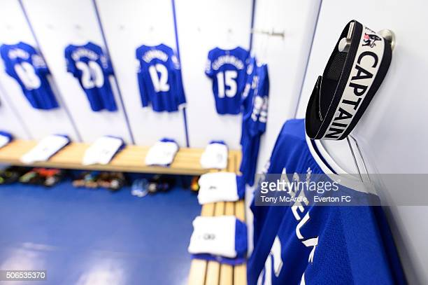 The Everton dressing room before the Barclays Premier League match between Everton and Swansea City at Goodison Park on January 24 2016 in Liverpool...