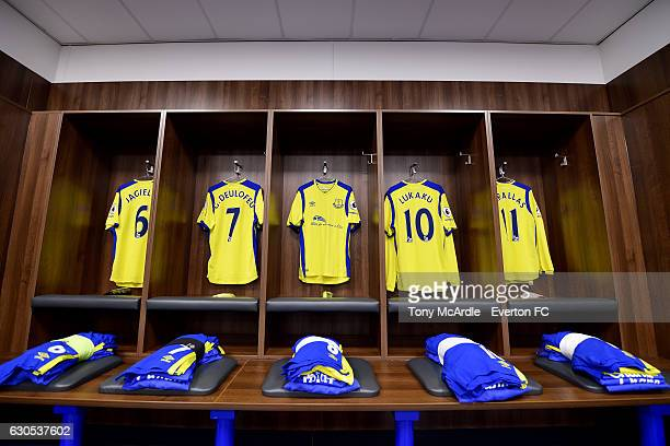 LONDON ENGLAND DECEMBER 26 The Everton dressing room before the Barclays Premier League match between Leicester City and Everton at The King Power...