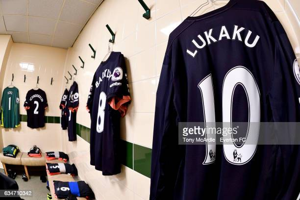 The Everton dressing room before the Premier League match between Middlesbrough and Everton at the Riverside Stadium on February 11 2017 in...