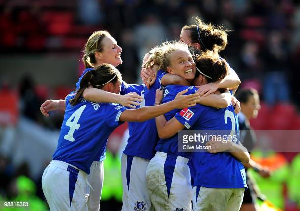 The Everton Ladies celebrate on the final whistle during the Final of the FA Womens Cup, Sponsored by E.ON, between Arsenal and Everton at the City...