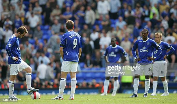 The Everton players show their dejection as they prepare to kick off after conceding a fourth goal during the Barclays Premiership match between...