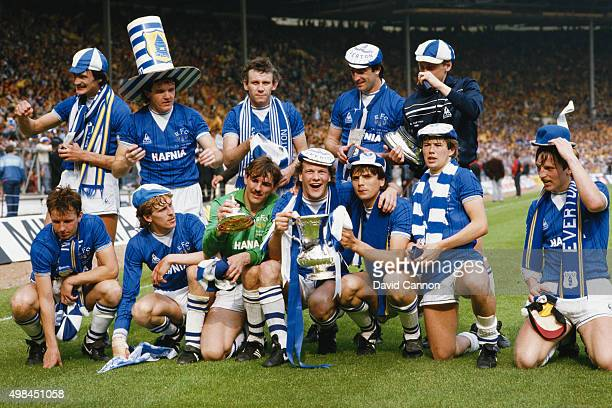 The Everton team pose with the trophy after beating Watford 20 in the 1984 FA Cup Final at Wembley Stadium on 19th May 1984 Back row Derek Mountfield...