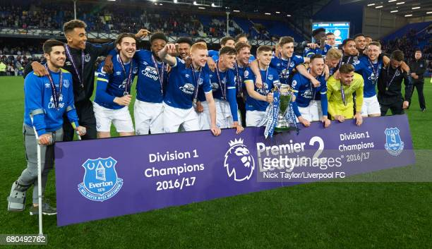The Everton U23 players celebrate their Premier League 2 title win after the Everton v Liverpool Premier League 2 game at Goodison Park on May 8 2017...