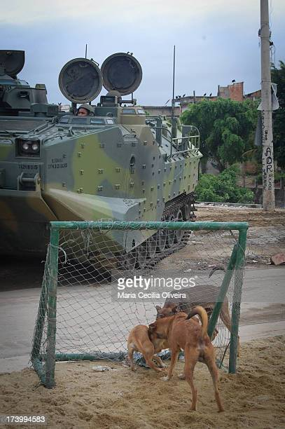 The everyday intact: dogs play in soccer goal. Army helps military police occupation is the installation of the Police Pacification Unit , the...