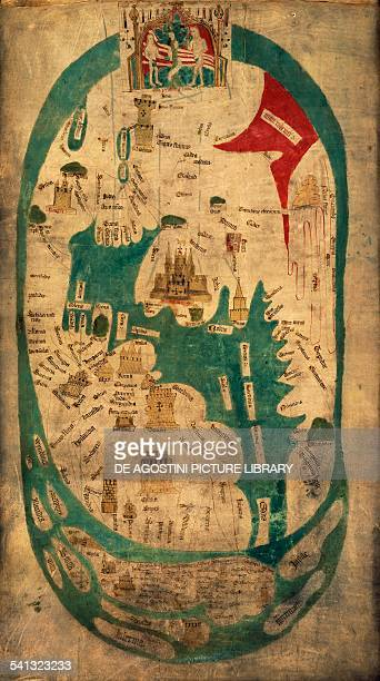 The Evesham world map ca 13901415 created under the patronage of Nicholas Hereford Prior of Evesham Abbey and Roger Yatton abbot of Evesham ink on...