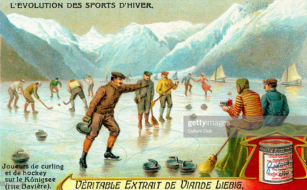 Curling and hockey on the Königsee in Upper Bavaria, Germany. Liebig Extract of Meat collectible card series (French: 'L'Evolution des sports d'hiver').