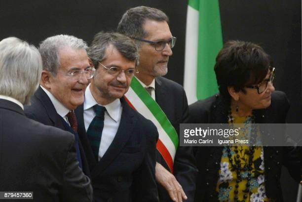 The ex italian Prime Minister Romano Prodi and Andrea Segre President of FICO and Virginio Merola Mayor of Bologna and Tiziana Primori CEO of Eataly...