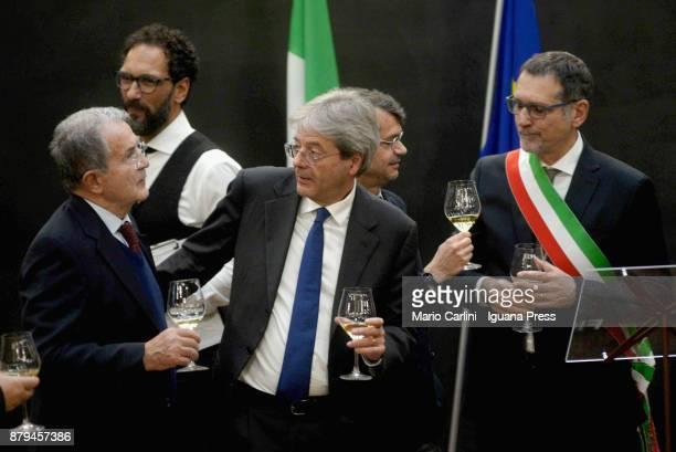 The ex italian Prime Minister Romano Prodi and the italian Prime Minister Paolo Gentiloni and Andrea Segre President of FICO and Virginio Merola...