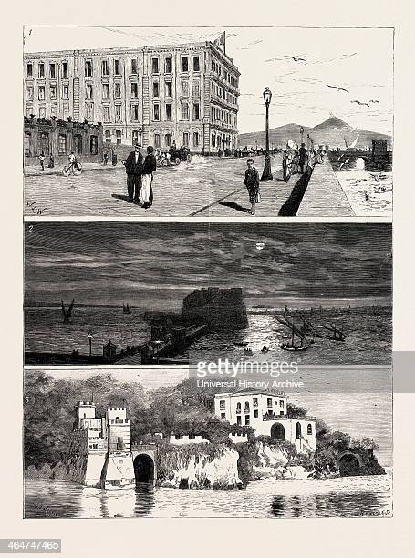 The Ex Khedive Of Egypt At Naples Italy Engraving 1879 Royal Hotel Des Etrangers Temporary Residence Of Ismail Pasha And His Sons 2 The Bay Of Naples...