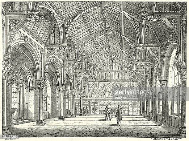 The exam hall of the academic comprehensive secondary school in Vienna 1865 Wood Engraving / Xylograph after a painting by F Jobst [Der Pruefungssaal...