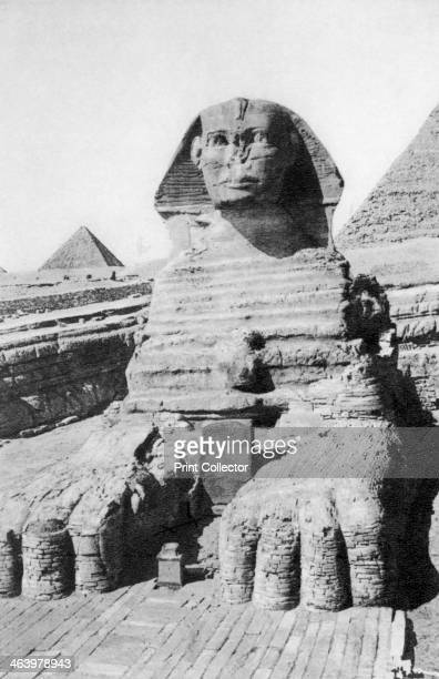 The excavated Sphinx Cairo Egypt c1920s Plate taken From In the Land of the Pharaohs published by Lehnert Landrock