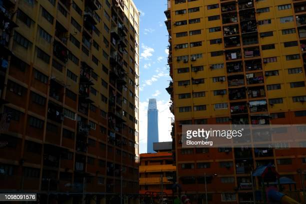 The Exchange 106 building part of the Exchange TRX precinct is seen between two apartment blocks in Kuala Lumpur Malaysia on Tuesday Feb 12 2019 The...