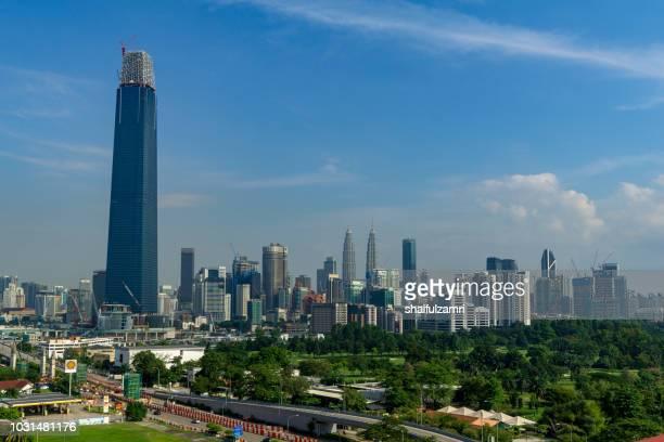 the exchange 106 (formerly trx signature tower) is a skyscraper under construction within the tun razak exchange (trx) area in kuala lumpur, malaysia. - shaifulzamri stock-fotos und bilder