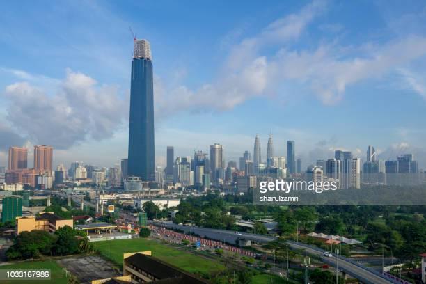 the exchange 106 (formerly trx signature tower) is a skyscraper under construction within the tun razak exchange (trx) area in kuala lumpur, malaysia. - shaifulzamri foto e immagini stock