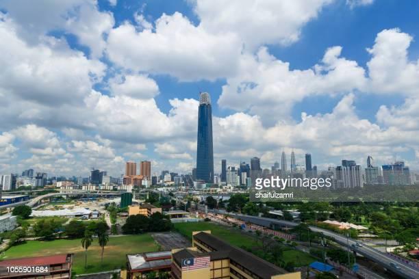 the exchange 106 (formerly trx signature tower) is a skyscraper under construction within the tun razak exchange (trx) area in kuala lumpur, malaysia. - shaifulzamri stockfoto's en -beelden
