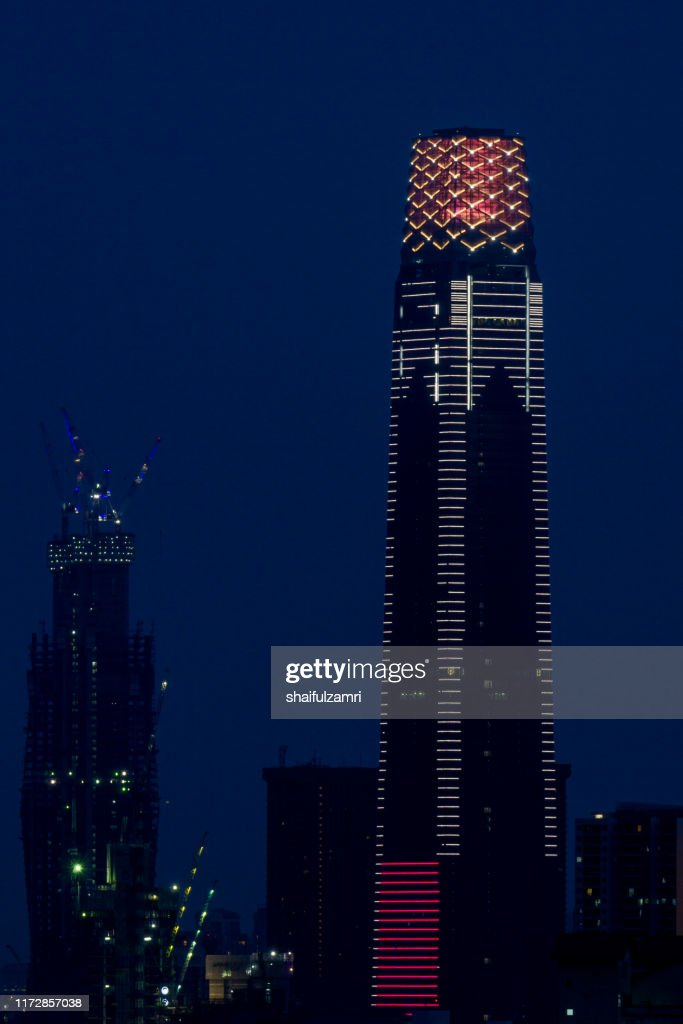 The Exchange 106 is a skyscraper within the Tun Razak Exchange area. The 106-floor building is topped with a 65-meter, 12-storey high illuminated crown making it 452 m tall. : Stock Photo